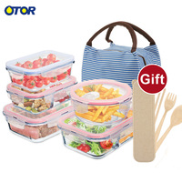 OTOR Food glass container Lunch Box 3 Compartments Bento Boxes Microwave Dinnerware Food Storage Container Glass Crisper