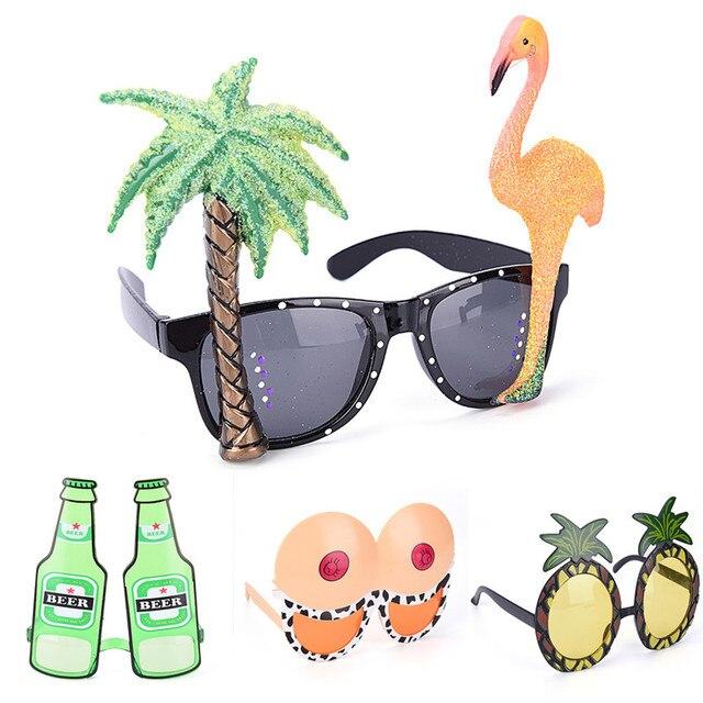 Disfraces divertidos de fiesta gafas de sol brillo decorativo flamenco gran pecho botella de vino piña playa evento suministros Decoración