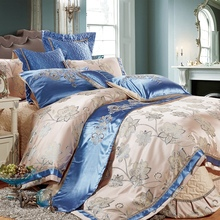 Wedding Luxury Silk Jacquard Cotton Bedding Sets Satin Lace Duvet Cover King/Queen Size bedspread Thickening 4pcs