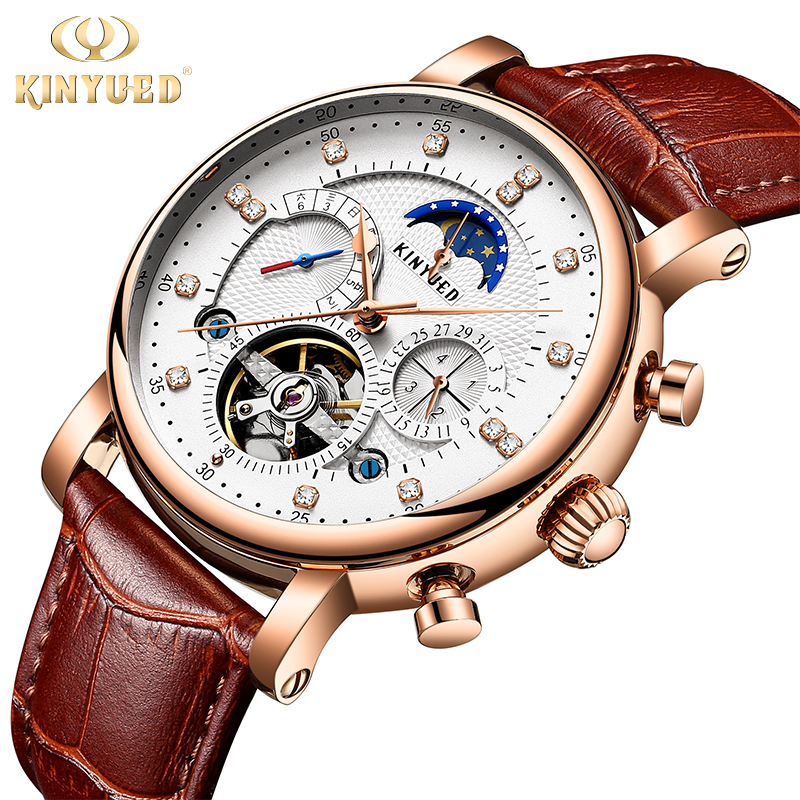 Kinyued настоящее золото механические часы для мужчин Горячая Moon Phase автоматический кожаный ремешок ручной часы Скелет Tourbillon мужской наручные