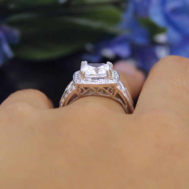 2.4CTW Cushion Cut Simulated Diamond 925 Sterling Silver with Gold Wedding Engagement Ring