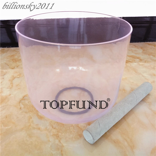 TOPFUND Light Violet Colored Clear A# Note Pineal Chakra Quartz Crystal Singing Bowl 6'' With Free Mallet and O-Ring topfund hollow handle clear a third eye chakra indigo color crystal singing bowl 6