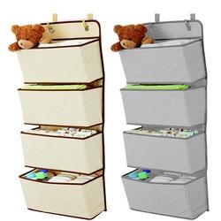Simple Houseware 4 Pocket Hanging Wall Closet Storage Bag Organizer Over Door Cloth Toy Organizer Bag Pouch Hanger