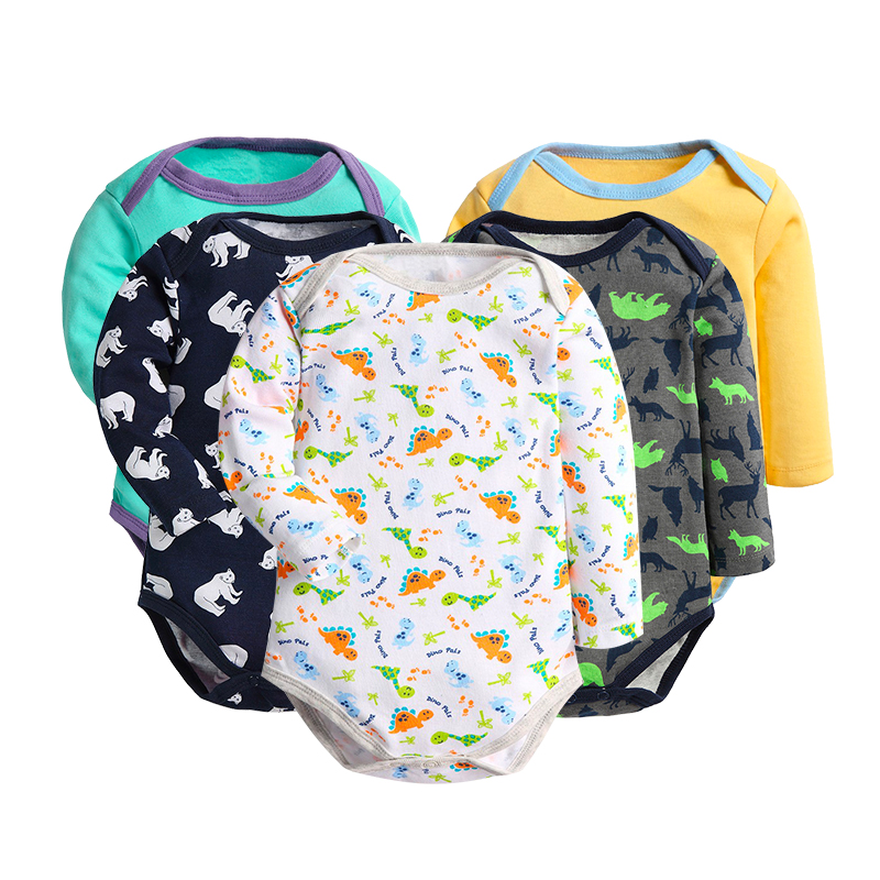 Baby Bodysuits 5 pcs Cartoon Style Long Sleeve Bodysuit For Baby Boys And Baby Girls Cotton Ropa Suitable For New Born Babies боди для мальчиков baby boys bodysuits macacao ropa de bebe ve003