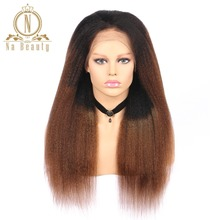 Brazilian Remy Hair Kinky Straight Lace Front Wigs T1B 30 100% Human Hair Cheap Wigs Na Beauty Hair Free Shipping