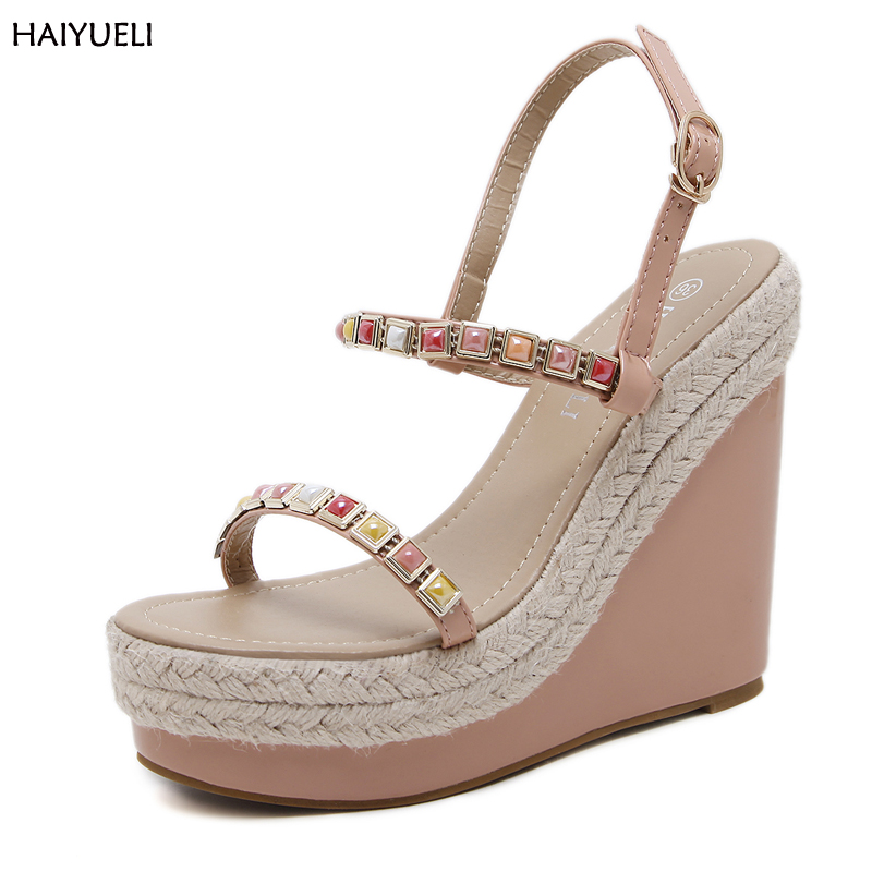 Women High Heels Platform Wedge Shoes Fashion Multi Colour Rivets High Heel Sandals Summer Shoes Women High Gladiator Sandals casual bohemia women platform sandals fashion wedge gladiator sexy female sandals boho girls summer women shoes bt574