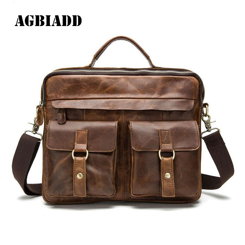 AGBIADD Leather Bags Men's Briefcase Men Messenger Bags Leather Laptop Bag  Casual Portfolio Attache Case 466 цена и фото