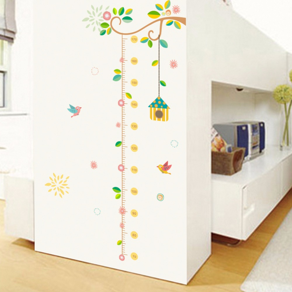 Flower Branch Tree Birdcage Height Measure Growth Chart Wall Stickers Home Decor Removable Mural Baby Gift Poster Nursery Decal