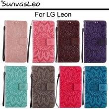 For LG Leon 4G LTE H340 H342 H320 C40 C50 Flip Leather Case Embossing Wallet  Back Cover Skin Shell Stander Holder Fundas Capa