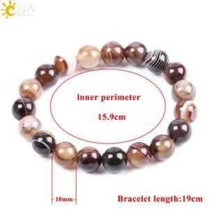 Image 5 - CSJA Natural Round Gem Stone Agates Onyx Men Bracelets Bangle 10mm Brown Stripe Ethnic Rosary Energy Beads Prayer Wristband F113