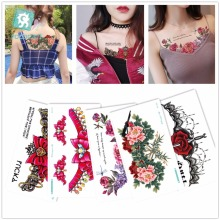 Latest Flower Body Art Temporary Tattoo Waterproof Chest Neck Temporary Sticker Underboobs Tatoo Designs. 2016 unique european style taty tattoo glitter body art golden temporary tattoo metallic tongue flower bracelet tatoo designs