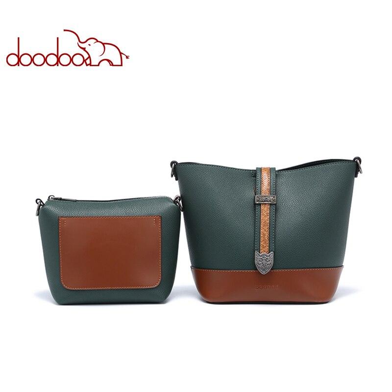 DOODOO Women Handbag Tote Bucket Bag Female Shoulder Crossbody Bags Ladies Pu Leather Wide Shoulder Straps