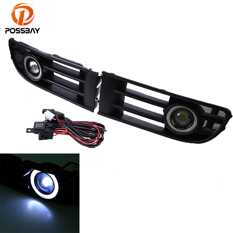 POSSBAY Auto Car Grille Fog Light LED Halo Angle/Devil Eyes Rings Lamp for VW Polo/Derby/Vento-IND 2002 2003 2004 2005 front bumper fog lamp grille led convex lens fog light angel eyes for vw polo 2001 2002 2003 2004 2005 drl car accessory p364