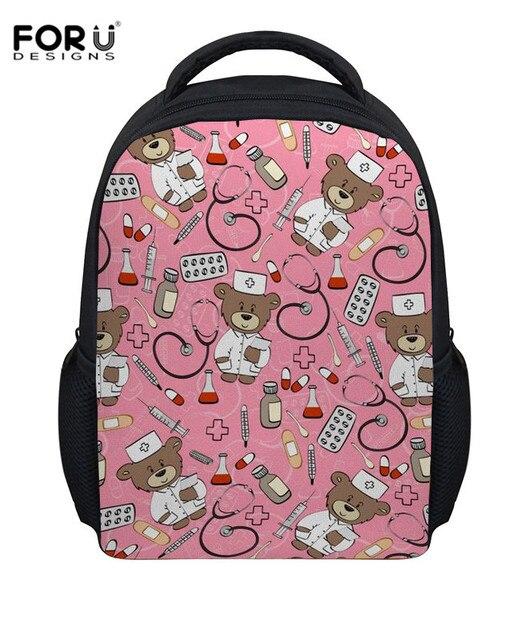 87e34b3e7b41 FORUDESIGNS Kids Cartoon School Bags Nurse Bear Printing School Backpacks  for Baby Children School Book Bag