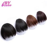 Bybrana 4 Colors Natural Blunt Bangs Human Hair Clip In Black Brown Black False Hair Pure