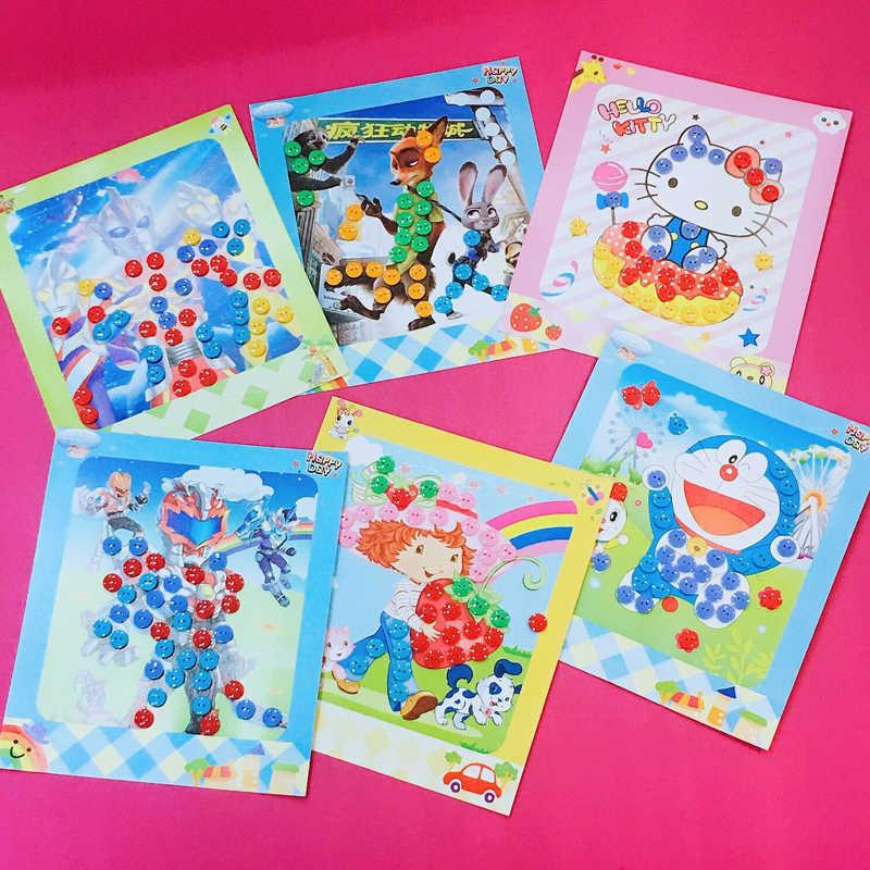 Niños DIY botón dibujo juguete pegatinas para casa jardín de infantes imagen educativa hecha a mano pasta pintura Material bolsa