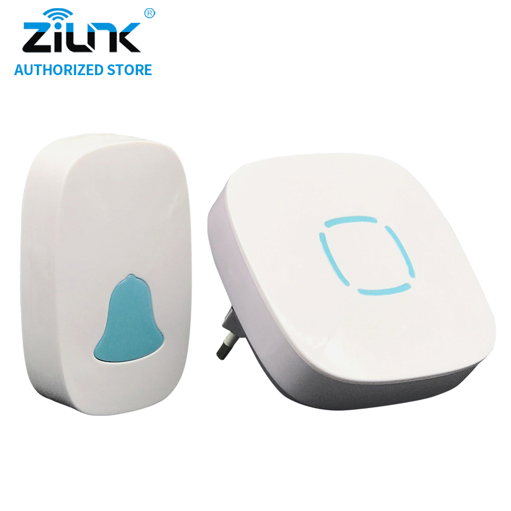 ZILNK IP44 Waterproof Wireless Doorbell No Battery Smart Door Bell Cordless 280M Remote Control AC 110V-220V US EU UK Plug White cacazi wireless cordless doorbell remote door bell chime one button and two receivers no need battery waterproof eu us uk plug