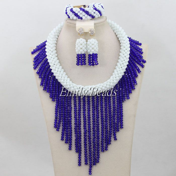 Royal Blue Crystal Beads Jewelry Set White African Costume Beads Jewellry Set Nigerian Bridal Wedding Necklace Set AIJ218 splendid nigerian wedding beads vintage classic jewellry set choker necklace set african women bridal jewelry set