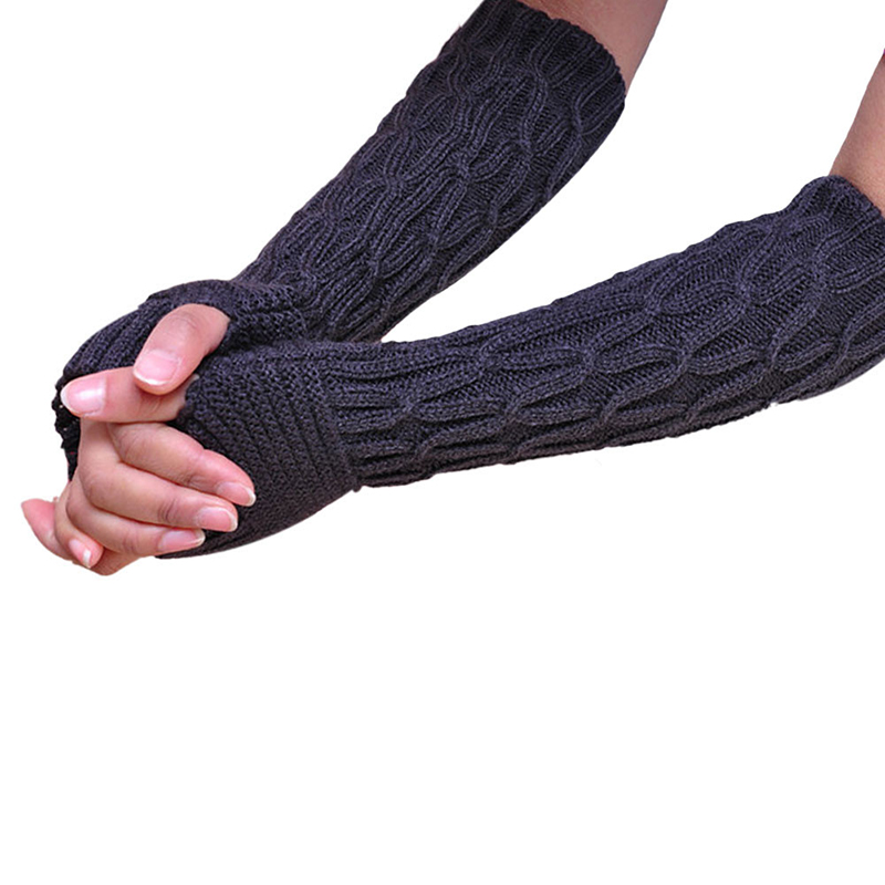 Women Warm Acrylic Knitting Mittens Newly Design Winter Warm Long Elbow Gloves Knitted Fingerless