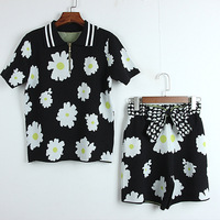 flower jacquard zipper jacket bow knot shorts two piece ice silk suit wholesale spring and summer new style