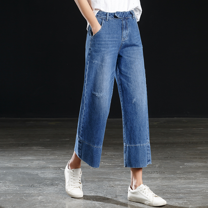 Shangege jeans women's high waist wide leg   pants     capris   spring and summer new stitching loose ankle length   pants