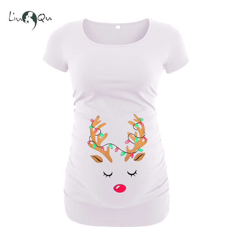 feb0b7210ddd9 Christmas Ugly Top Women's Maternity Clothes Printing Blouses T-Shirt  Pregnant Clothing Reindeer Snowman Blouses