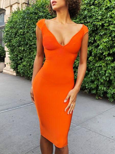New Fashion Orange Solid V Neck Streath Rayon Bandage Dress Knee Length Chicing party Bodycon Dress