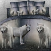 Goldeny Brand 3 Parts Per Set Mystical White Wolf pack 3d animal bed set 3d Bed Linens