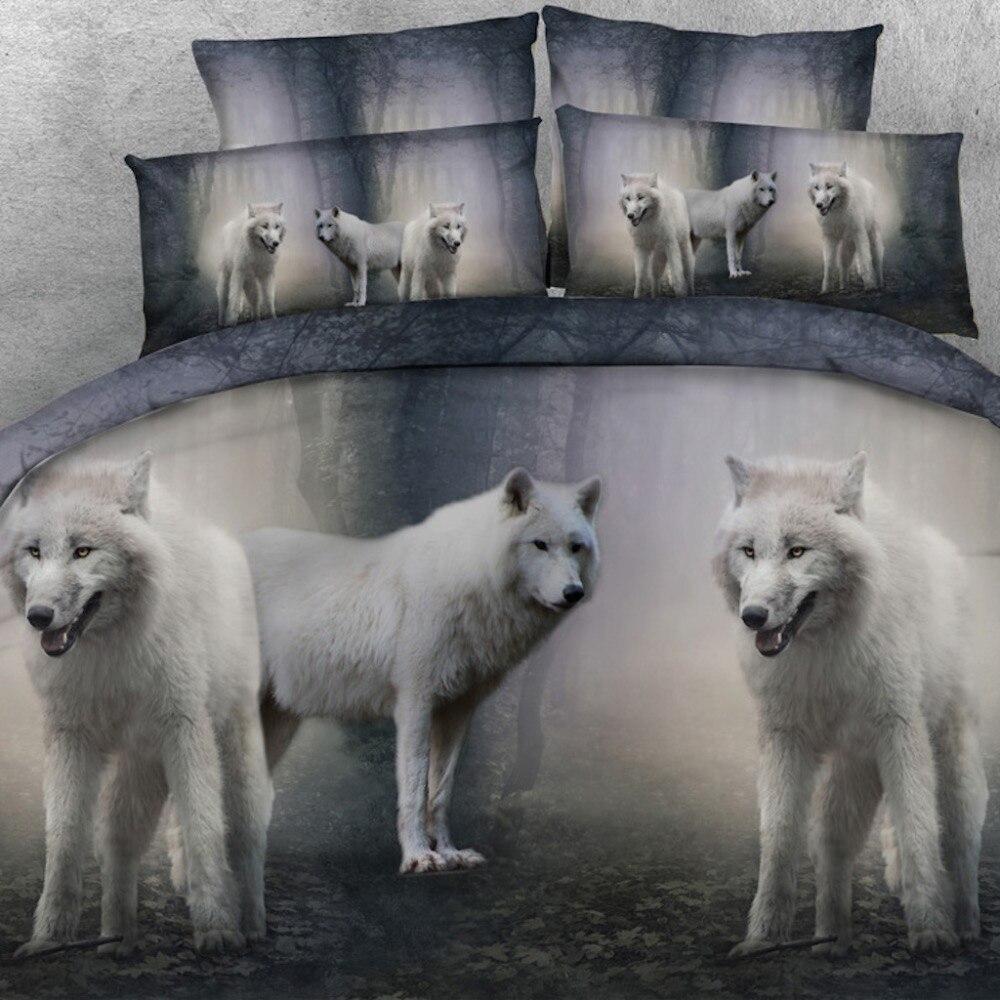 Golnier marque 3 pièces par ensemble mystique blanc loup pack 3d animal lit ensemble 3d linge de lit