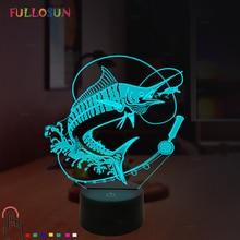 3D Illusion Light LED Night Light Fishing Model 5V USB Touch Light 7 Color Lamp Holiday Decoration Home Desk Lamp