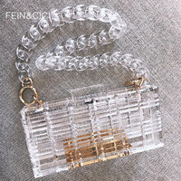 Clear acrylic clutch women transparent bag plastic chains box bag Dubai girl vintage retro evening party handbag 2019 summer bag