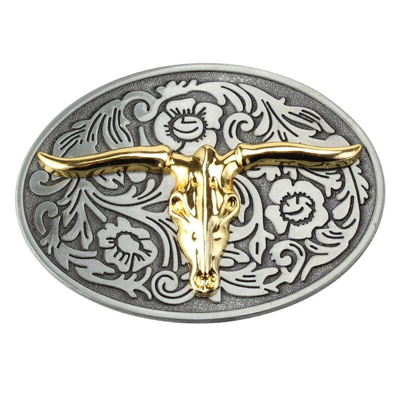 Golden Cow Pattern Plate Belt Buckle