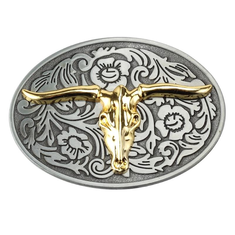 Golden Cow Pattern Plate Belt Buckle