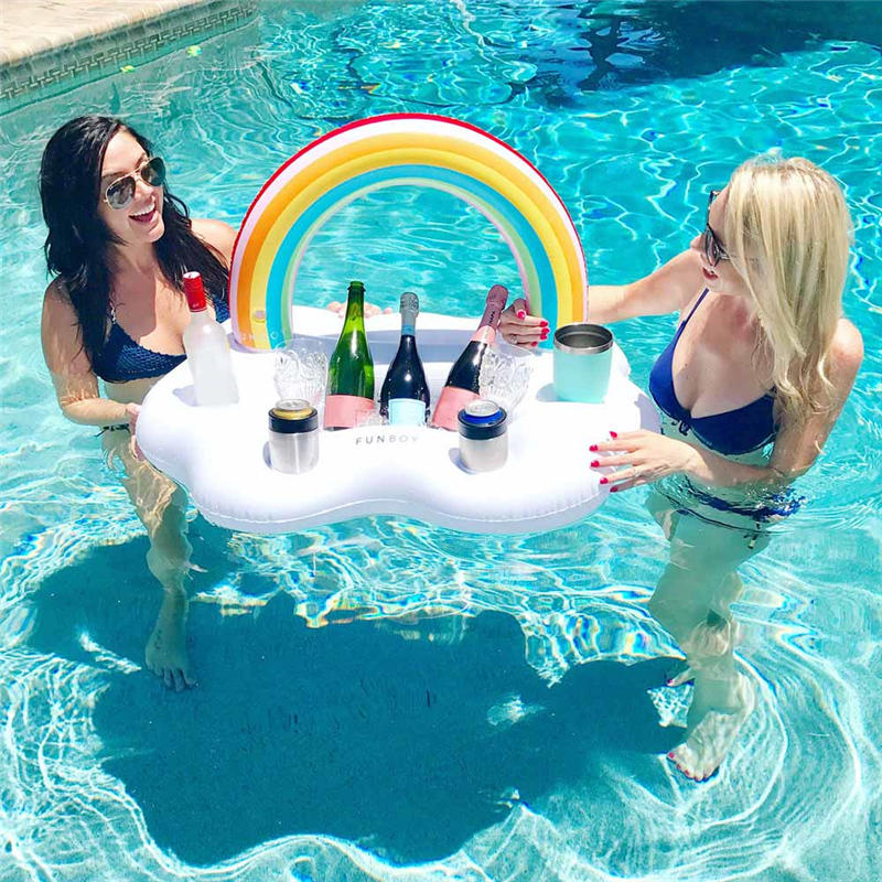 Inflatable Rainbow Cloud Drink Holder Floating Beverage Salad Fruit Serving BarPool Float Party,4Drink Holes 1Rectangular Groove