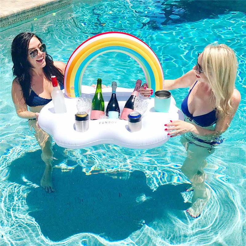 Inflatable Rainbow Cloud Drink Holder Floating Beverage Salad Fruit Serving BarPool Float Party,4Drink Holes 1Rectangular Groove