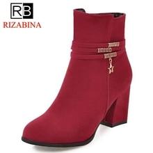 RizaBina Размеры 32–43 4 цвета женские ботильоны в сдержанном стиле круглый носок на высоком каблуке на молнии зимние сапоги модная тёплая обувь женская обувь