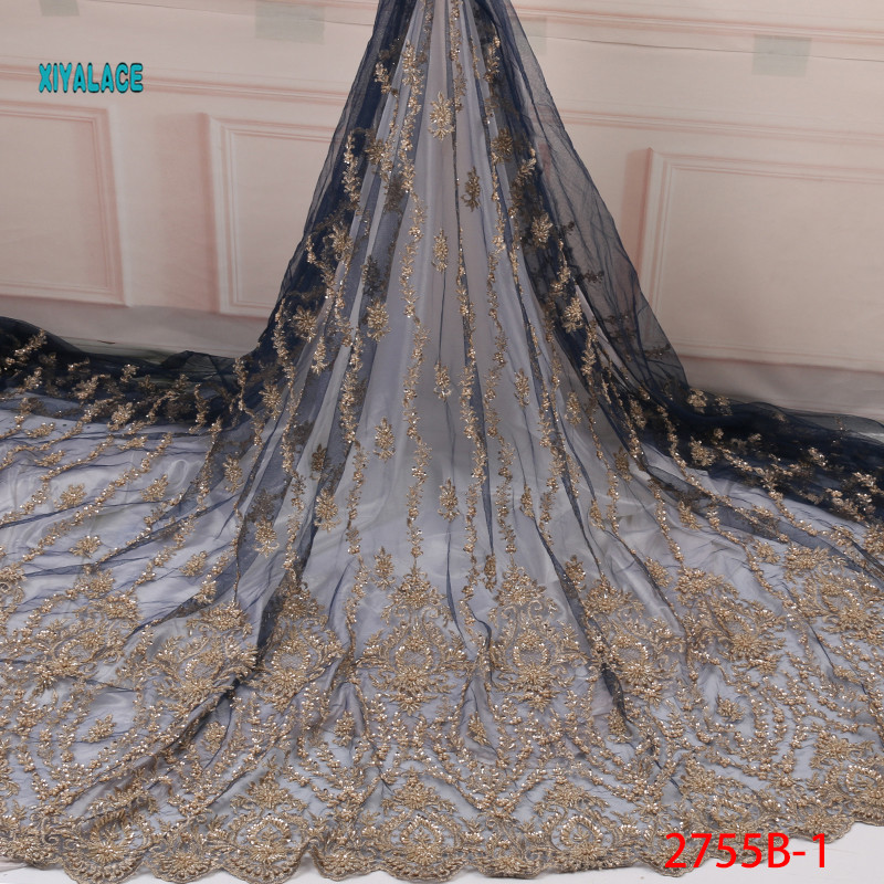 Handmade African Beaded Lace Fabric  Nigerian Laces Fabric 2019 High Quality Gold French Tulle Lace Fabric For Women YA2755B-1