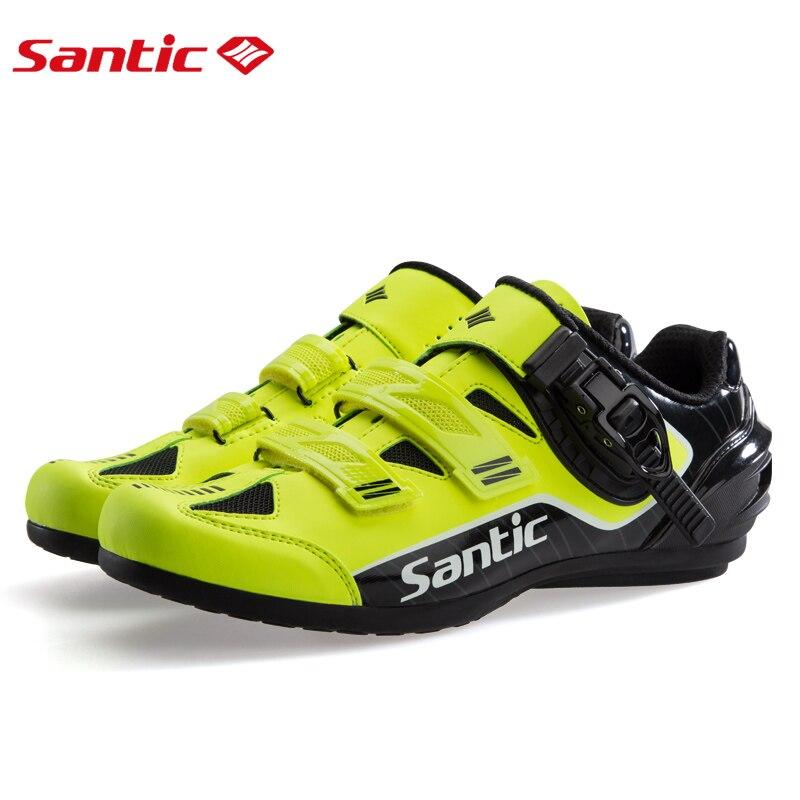 Santic Uomini Non-Lock Scarpe Da Ciclismo Riflettente Scarpe MTB Della Bicicletta Della Bici Suola In Gomma Traspirante Strada Scarpe Zapatillas Ciclismo