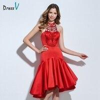 Dressv赤ホルタービーズカクテルドレスフリルノースリーブアシンメトリージッパーアップマーメイドショートカクテルドレスホームカミングドレス