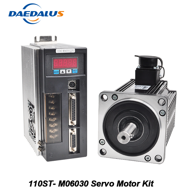 110ST-M06030 220V Servo Motor Kit 1.8KW AC Servo Motor 3000RPM 6N.M. Single-Phase Drive Matched Motor Drive With Encoder Cable communication cable for servo drive mr cpcatcbl3m cable mr j2s a
