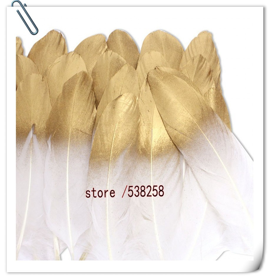 Free shipping hot sale new white with gold 100 pcs /lot of high quality goose feathers 5-7 13-18cm DIY Jewelry Accessories