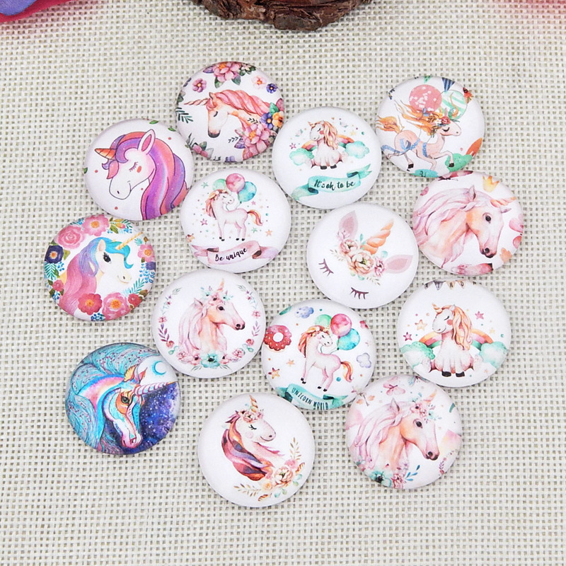 Mix Style Unicorn Horse 10mm 12mm 14mm 18mm 20mm 25mm 30mm Photo Round Glass Cabochon Demo Flatback Jewelry DIY Making