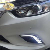 For Mazda 6 2013 2014 2015 2016 Daytime Running Light LED DRL fog lamp Driving lights Yellow Turn Signal Lamp