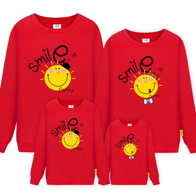 Family Matching Outfits Kids Women Long Sleeve Sweatshirt Tops mom father boy and daughter Children Clothing Family Matching