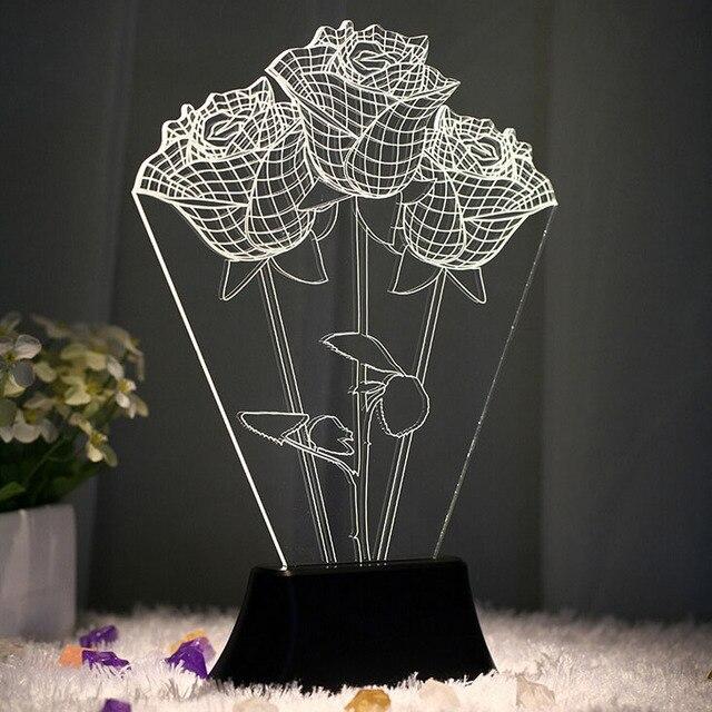 USB 3D LED Table Lamp Night Light's room Night Light Christmas Gift NEW Rose