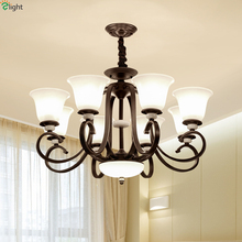 American Retro Iron Led Pendant Chandeliers Light Glass Dining Room Chandelier Lighting Bedroom Hanging Lights Fixtures