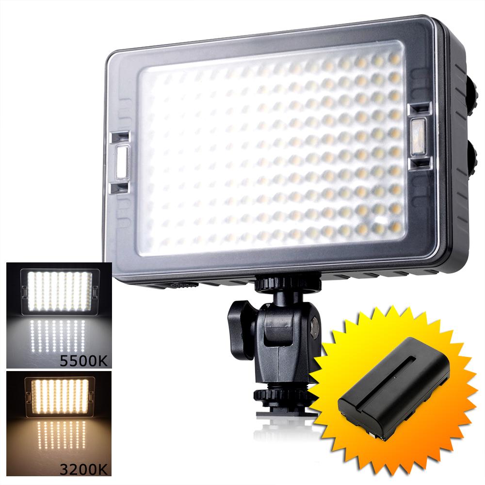 Prix pour Tolifo 160 PCS LED Vidéo Lumière Bi-couleur Photo Lumière Bi-La Température De Couleur 3200 K 5500 K Pour Canon Nikon + Batterie pour Sony NP-F550