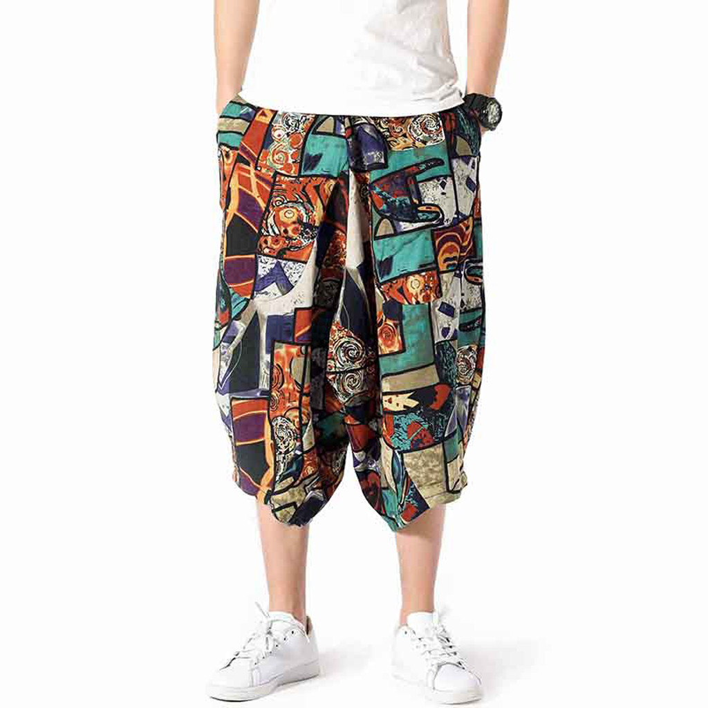 Spring And Summer Men's Wide Crotch Harem Cotton Linen Plus Size Green Print Wide-legged Bloomers Baggy Cropped Trousers L415A