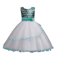 Flower Girl Party Dress For Weddings 2018 With Sequined And Butterfly Embroidety Tulle Princess Girl S