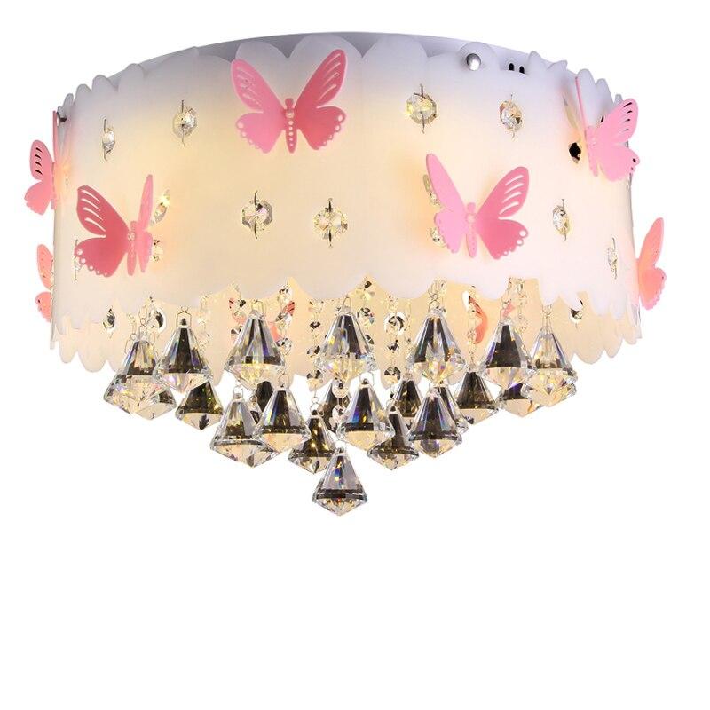 blanco clido led de cristal colgante luz moderno simple de acrlico rosado de la mariposa lmpara